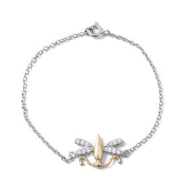 ELANZA Simulated Diamond (Rnd) Bracelet (Size 7.5) in Rhodium and Yellow Gold Overlay Sterling Silve