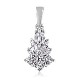 RHAPSODY 950 Platinum IGI Certified Diamond (Rnd and Bgt) (VS / E-F) Pendant 0.50 Ct.