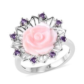 Jardin Collection Mother of Pearl and Amethyst Floral Ring in Rhodium Plated Silver