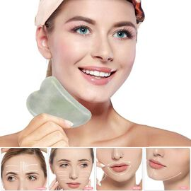 Green Jade Gua Sha (Scraping Plate) in Gift Box