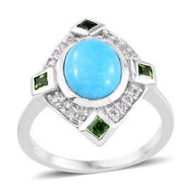 AA Arizona Sleeping Beauty Turquoise (Ovl 9x7 mm), Russian Diopside and Natural Cambodian Zircon Rin
