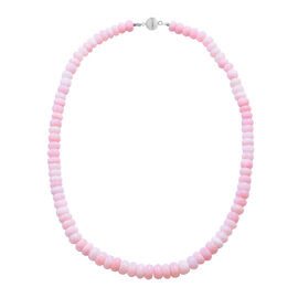 Peruvian Pink Opal Beaded Necklace in Rhodium Plated Sterling Silver 18 Inch