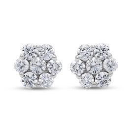 RHAPSODY 950 Platinum SGL Certified Diamond (VS/E-F) Floral Stud Earrings (with Screw Back) 1.000 Ct