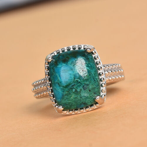 Chrysocolla Solitaire Ring in Platinum Plated 6.00 Ct