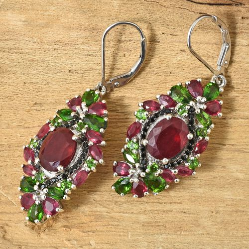 Limited Edition and Designer Inspired- AAA Rare African Ruby (Ovl 9X7), Russian Diopside and Black Spinel Lever Back Earrings in Platinum Overlay Sterling Silver 10.500 Ct.Silver wt 7.68 Gms.