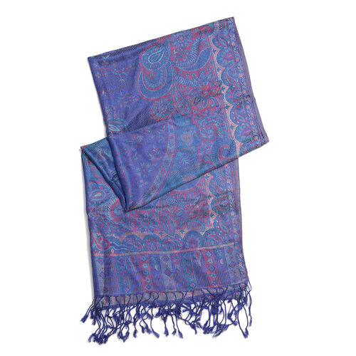 SILK MARK - 100% Superfine Silk Royal Blue Colour Jacquard Jamawar Scarf with Fringes (Size 180x70 Cm) (Weight 125-140 Grams)