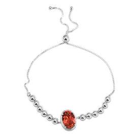 J Francis - Crystal from Swarovski Padparasha Crystal (Ovl) Bracelet (Size 6.5-9.5 Adjustable) in St