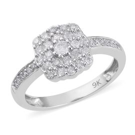 0.50 Ct Diamond Cluster Ring in 9K White Gold SGL Certified I2 I3 GH 2.35 Grams