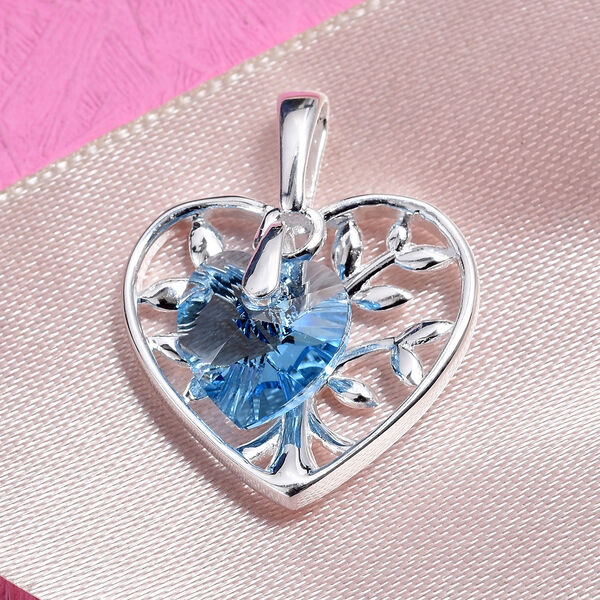 J Francis Aquamarine Colour Crystal from Swarovski Solitaire Heart Pendant in Sterling Silver
