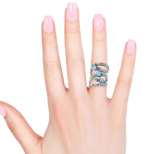 Royal Bali Collection Arizona Sleeping Beauty Turquoise (Rnd) Ring in Sterling Silver 1.190 Ct. Silver wt 10.25 Gms.