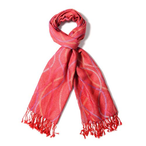 Designer Inspired- Red and Multi Colour Scarf with Wave Pattern (Size 180x70 Cm)