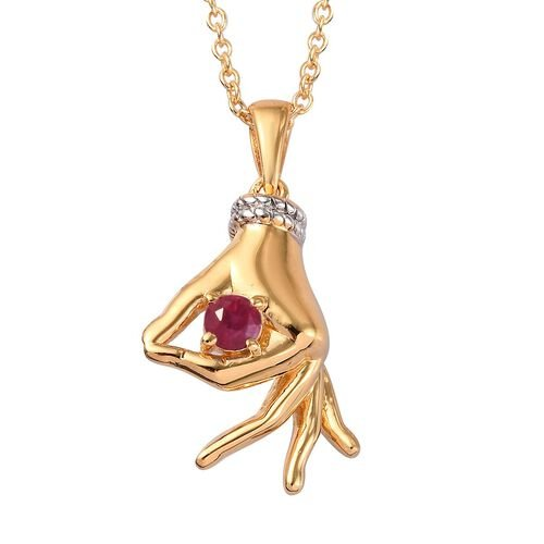 AA African Ruby Mudra Hand Pendant With Chain (Size 20) in Yellow Gold and Platinum Overlay Sterling