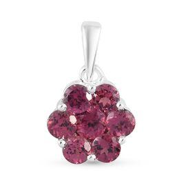 Orissa Rose Garnet  Floral Pendant in Sterling Silver 1.85 Ct.