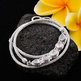 Royal Bali Collection - Polki Diamond Tulang Naga Necklace (Size 20) in Sterling Silver 2.00 Ct, Sil