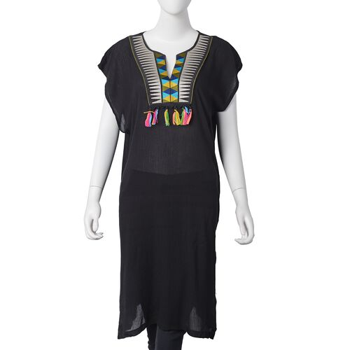 Designer Inspired- Black, Yellow, Grey and Multi Colour Embroidered Beach Cover-Up (Size 100x50 Cm) with Multi Colour Tassels