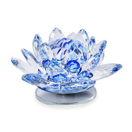 Home Decor - Crystal Lotus Flower with Rotating Base (Size 10x6 Cm) - Blue
