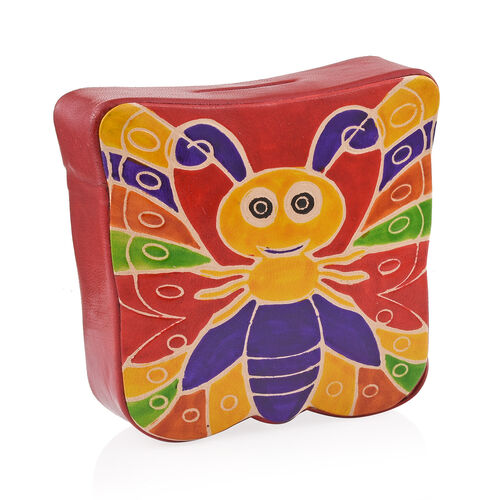 Genuine Leather Red Hand Painted Butterfly Shape Money Bank