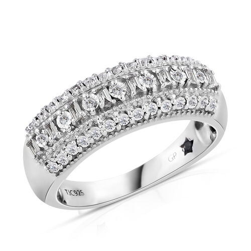 GP Diamond (Rnd and Bgt), Kanchanaburi Blue Sapphire Half Eternity Band Ring in Platinum Overlay Sterling Silver 0.350 Ct. Silver wt. 5.00 Gms.