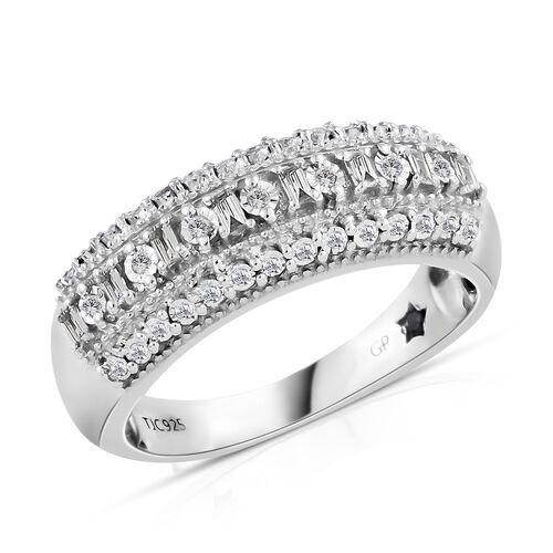 GP Diamond (Rnd and Bgt), Kanchanaburi Blue Sapphire Half Eternity Band Ring in Platinum Overlay Ste