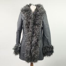 Grey Hooded Faux Leather Jacket with Faux Fur Trim Collar and Cuffs (Size 12)