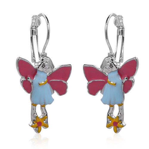 Lever Back Enamelled Fairy Theme Earrings in Silver Tone