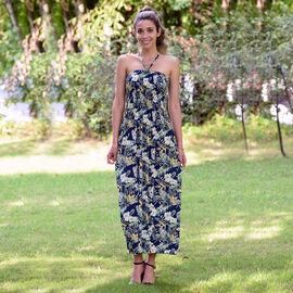 JOVIE Floral Pattern Smocked Halter Dress - Navy and Multi