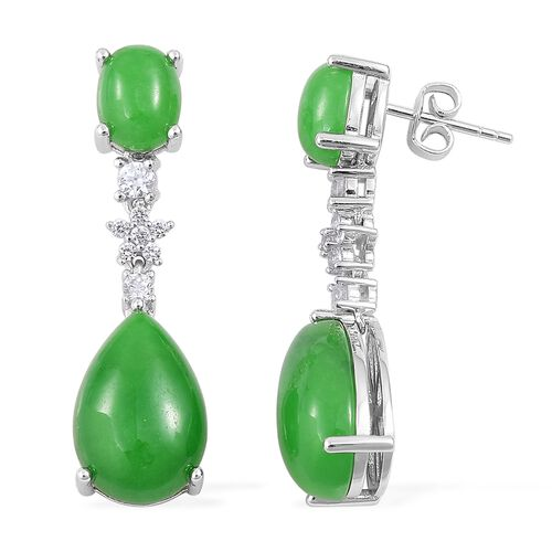 Green Jade (Pear), Russian Diopside and Natural White Cambodian Zircon Earrings (with Push Back) in Rhodium Plated Sterling Silver 22.110 Ct. Silver wt. 5.79 Gms.