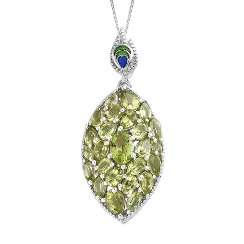 AA Hebei Peridot (Pear and Mrq) Cluster Pendant With Chain in Platinum Overlay Sterling Silver  6.000 Ct, Silver wt 7.62 Gms.