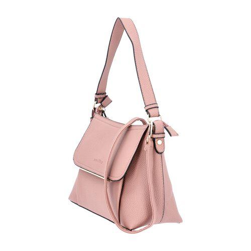 SENCILLEZ Shungite Zipper Closure Satchel Bag with Detachable Shoulder Strap (Size 30x12x22 Cm) - Pink