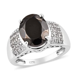 2.50 Ct Elite Shungite and Zircon Solitaire Design Ring in Platinum Plated Silver 4 Grams