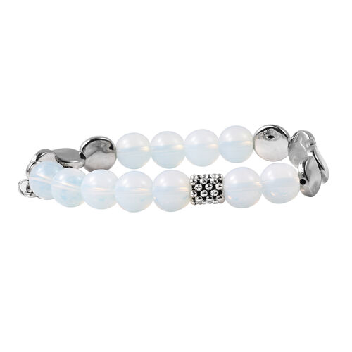 Opalite (Rnd), Stretchable Beads Bracelet (Size 7) with Charm in Antique Silver Plated 75.00  Ct.