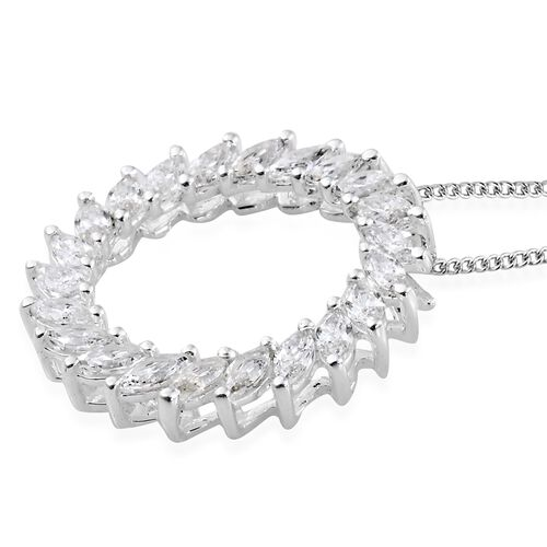 J Francis - Sterling Silver (Mrq) Circle of Life Pendant with Chain Made with SWAROVSKI ZIRCONIA