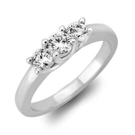 New York Close Out 0.50 Ct Diamond Trilogy Ring in 14K White Gold I2 I3 GH 3.60 Grams