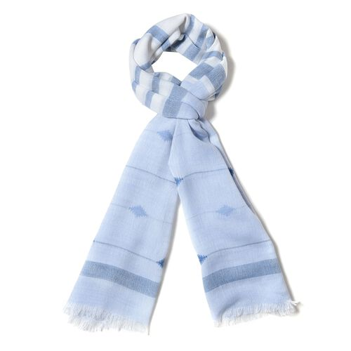 Light Blue Multi Colour Strip and Rhombus Pattern Scarf (Size 190x70 Cm)