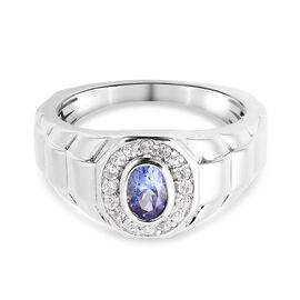 Tanzanite and Natural Cambodian Zircon Ring in Rhodium Overlay Sterling Silver 1.00 Ct, Silver wt. 6