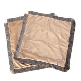 Luxury Edition - 2 Piece Set Extremely Soft Decorative Cushion Covers with Trimming in Tan Colour (S