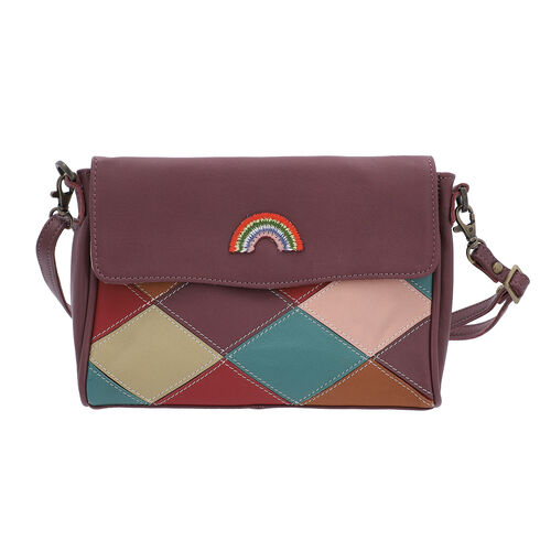100% Genuine Leather Croussbody Bag with Flap (Size 23x5x18cm) - Purple and Multi Colour