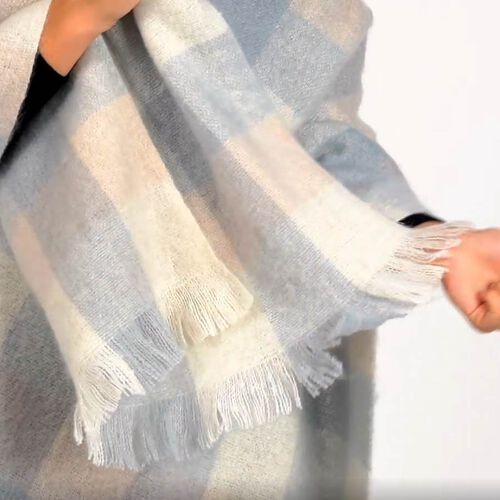 Soft Check Pattern Scarf with Small Fringes (Size 60x195+5) - White and Blue