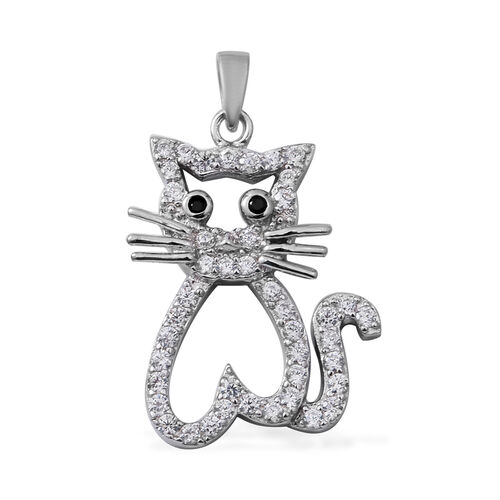 ELANZA  Simulated Diamond (Rnd), Boi Ploi Black Spinel Cat Pendant in Rhodium Overlay Sterling Silve