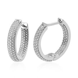 Diamond (Rnd) Hoop Earrings (with Clasp) in Platinum Overlay Sterling Silver, 4.85 Gms