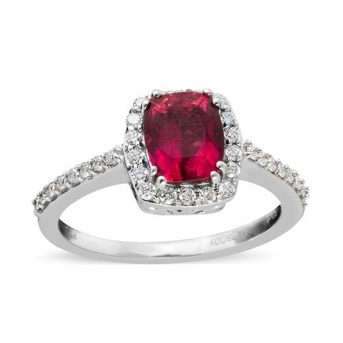 RHAPSODY 1.75 Ct AAAA Rubelite and Diamond Halo Ring in 950 Platinum 5.4 Grams VS EF