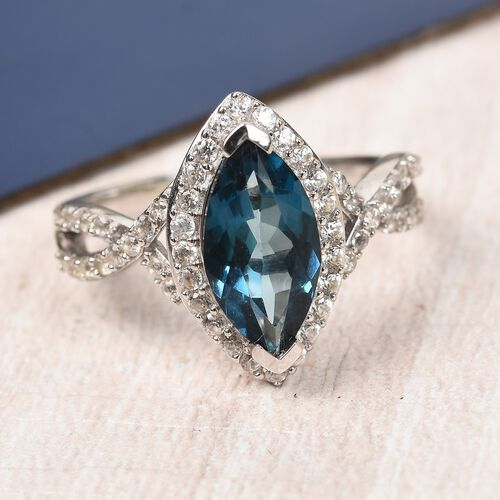 London Blue Topaz and Natural Cambodian Zircon Marquise Ring in Platinum Overlay Sterling Silver 2.75 Ct.