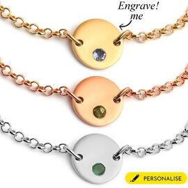 Personalised Engraved Initial Birthstone Bracelet