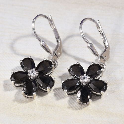 Elite Shungite (Pear), Natural Cambodian Zircon Floral Earrings in Platinum Overlay Sterling Silver 2.82 Ct.