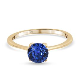 J Francis Crystal from Swarovski - Sapphire Colour Crystal Solitaire Ring in 14K Gold Overlay Sterli