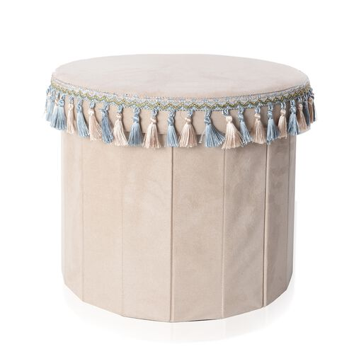 Beige Colour with Light Blue and Beige Tassels Foldable Storage box with Fringe Round (Size 43x40 Cm