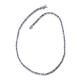 16.5 Ct Tanzanite Tennis Necklace in Platinum Plated Sterling Silver 17.83 Grams