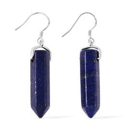 38 Ct Lapis Lazuli Pendulum Hook Earrings in Rhodium Plated Sterling Silver