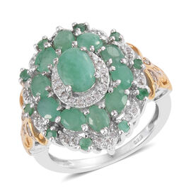 Brazilian Emerald (Ovl), Natural Cambodian Zircon Ring in Platinum and Yellow Gold Overlay Sterling Silver 2.750 Ct.