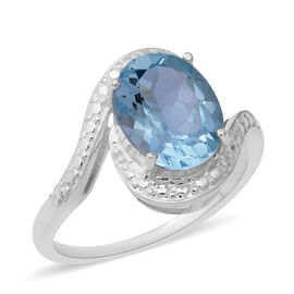Sky Blue Topaz (Ovl 11x9 mm) Ring in Sterling Silver 4.39 Ct.